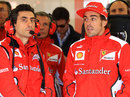 Fernando Alonso and Andrea Stella in the Ferrari garage