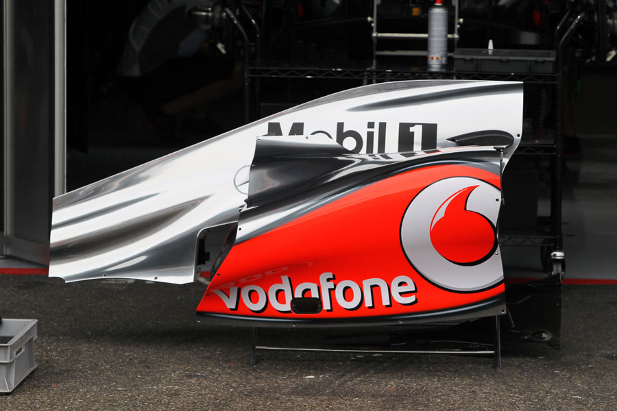 McLaren bodywork in the pit lane