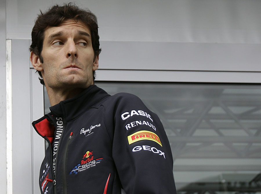 Mark Webber enters the Red Bull motorhome