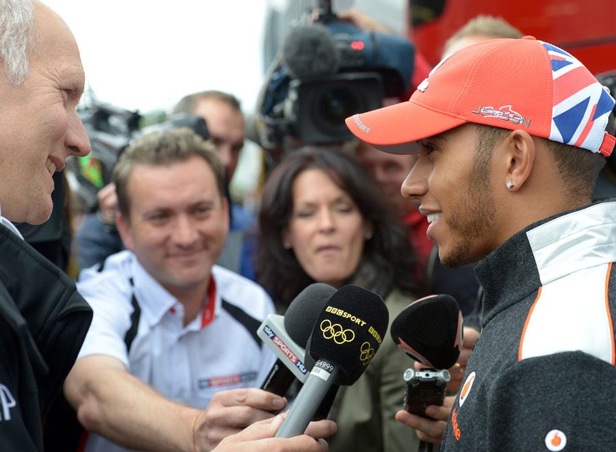 Lewis Hamilton speaks to the media on Thursday