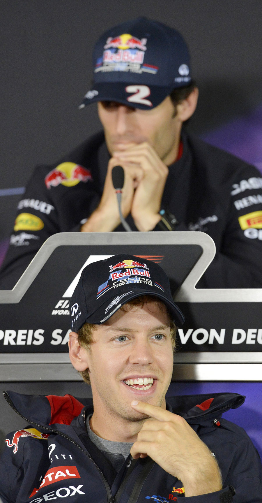 Mark Webber and Sebastian Vettel in the drivers' press conference