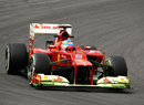 Fernando Alonso's Ferrari on track on medium tyres
