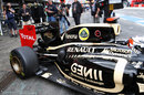 Kimi Raikkonen leaves the Lotus garage with the E20 sporting an updated rear end