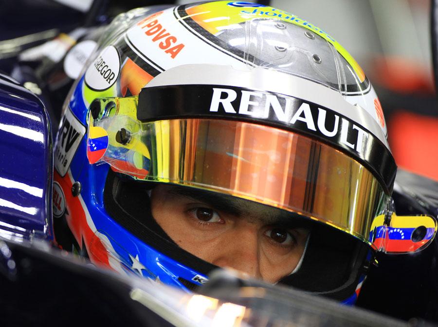 Pastor Maldonado in the cockpit of the Williams