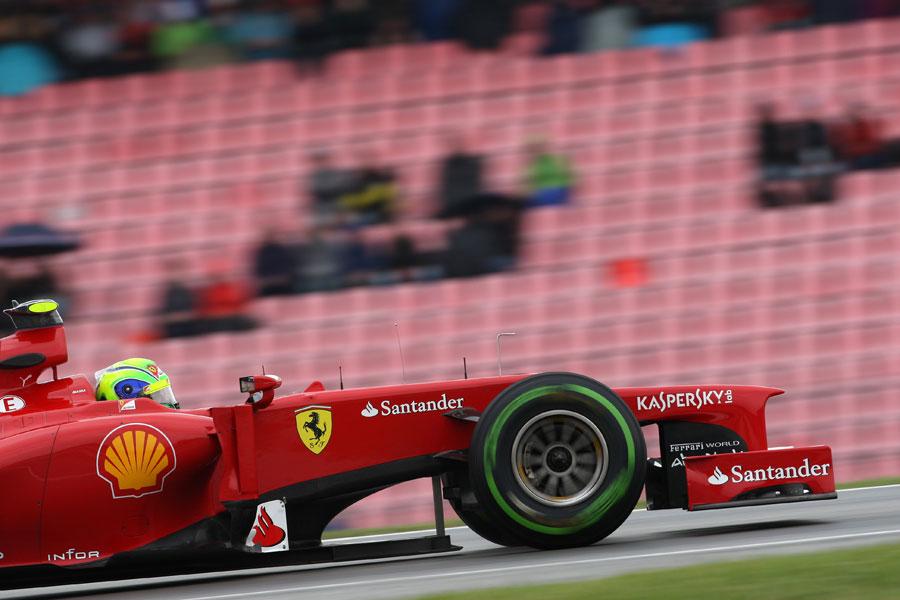 Felipe Massa on track on intermediate tyres