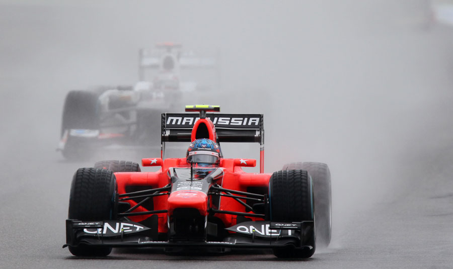 Charles Pic tests out the conditions on wet tyres