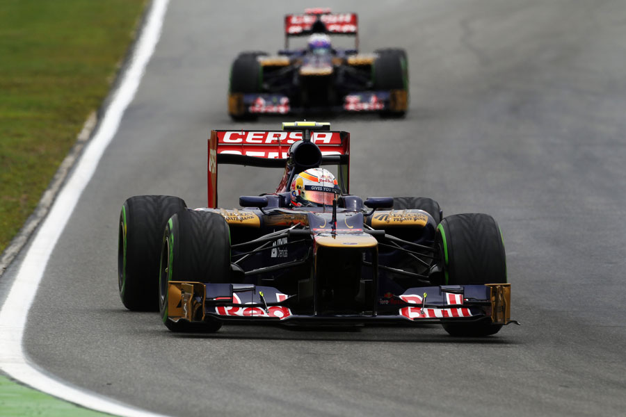Jean-Eric Vergne ahead of team-mate Daniel Ricciardo during FP2