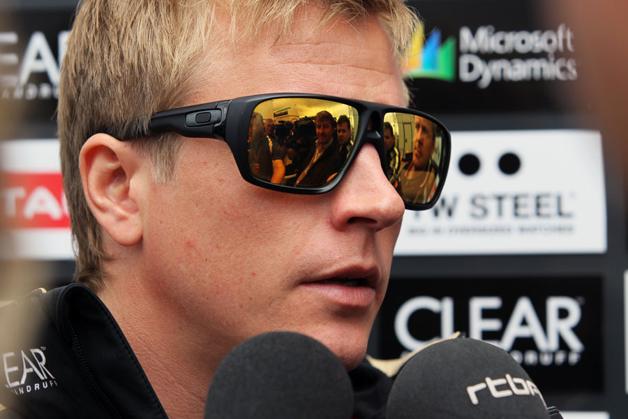 Kimi Raikkonen speaks to the press on Thursday