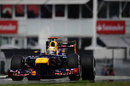 Sebastian Vettel with his DRS open in the Red Bull