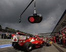 Felipe Massa pits as the dark clouds close in around Hockenheim