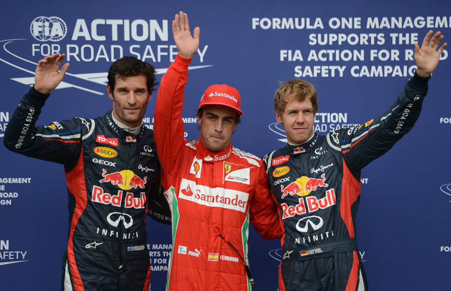 Top three Fernando Alonso, Sebastian Vettel and Mark Webber pose after qualifying