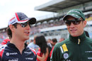 Bruno Senna and Vitaly Petrov chat ahead of the drivers' parade