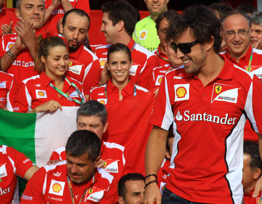 Fernando Alonso enjoys the post-race celebrations