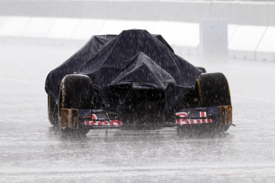 A Toro Rosso left in the rain