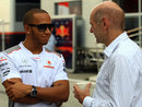 Lewis Hamilton chats to Adrian Newey in the paddock on Thursday