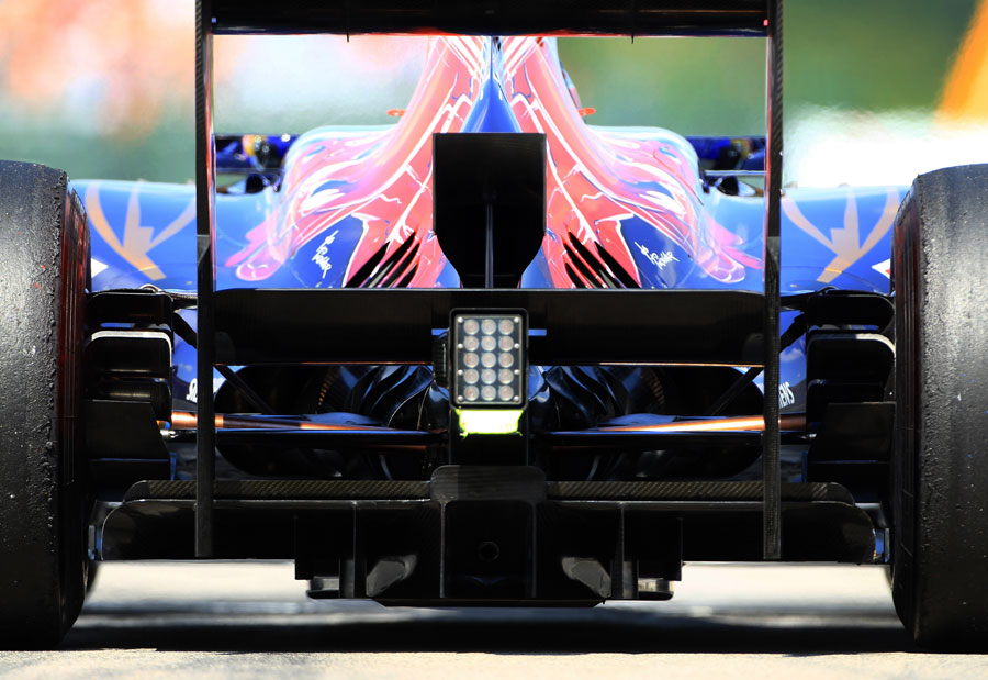 A close-up of the rear of Jean-Eric Vergne's Toro Rosso