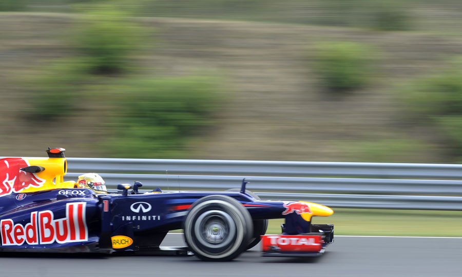 Sebastian Vettel at speed during FP1