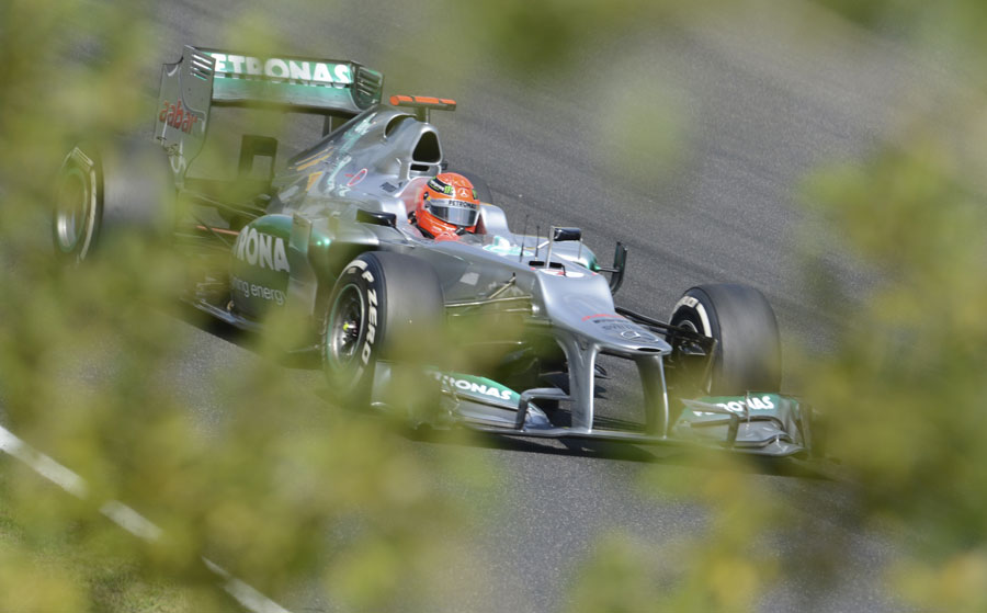 Michael Schumacher on a long run on medium tyres