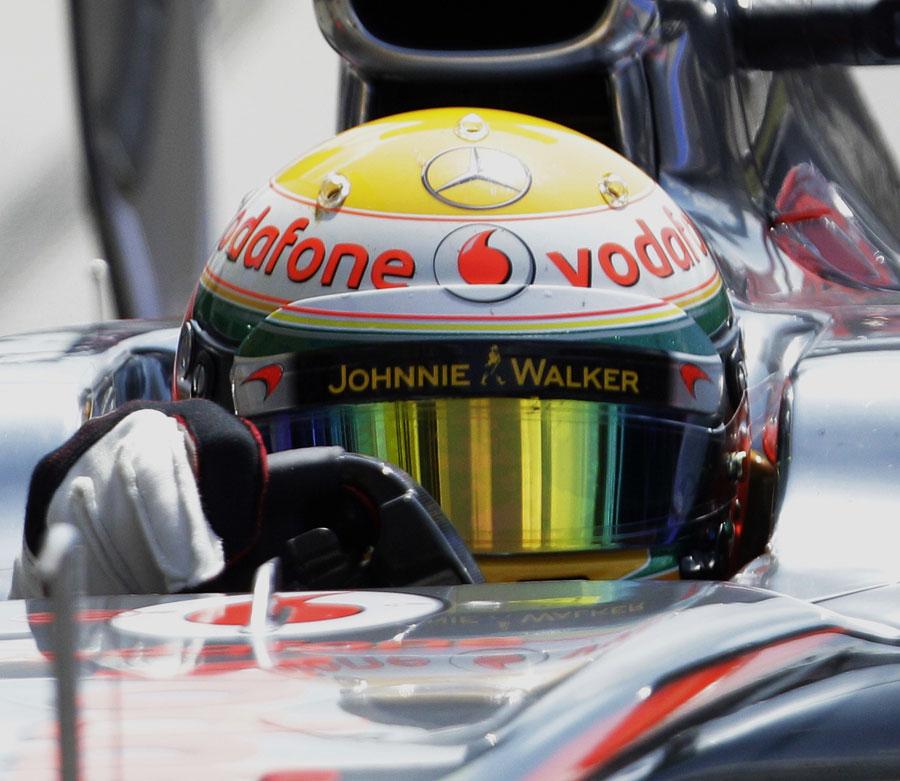 Lewis Hamilton in the cockpit of his McLaren
