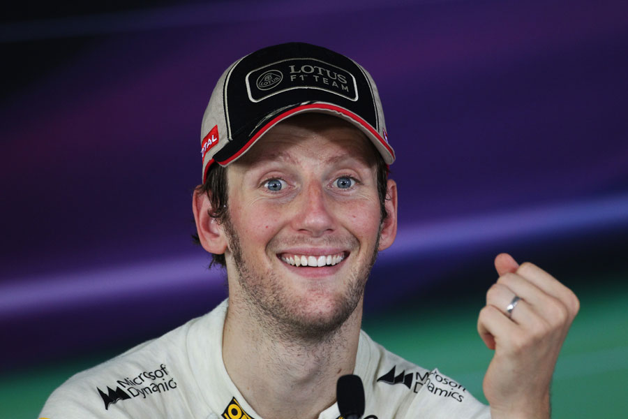 Romain Grosjean enjoys his second place in the drivers press conference