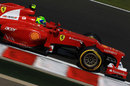 Felipe Massa at speed on the soft compound tyre