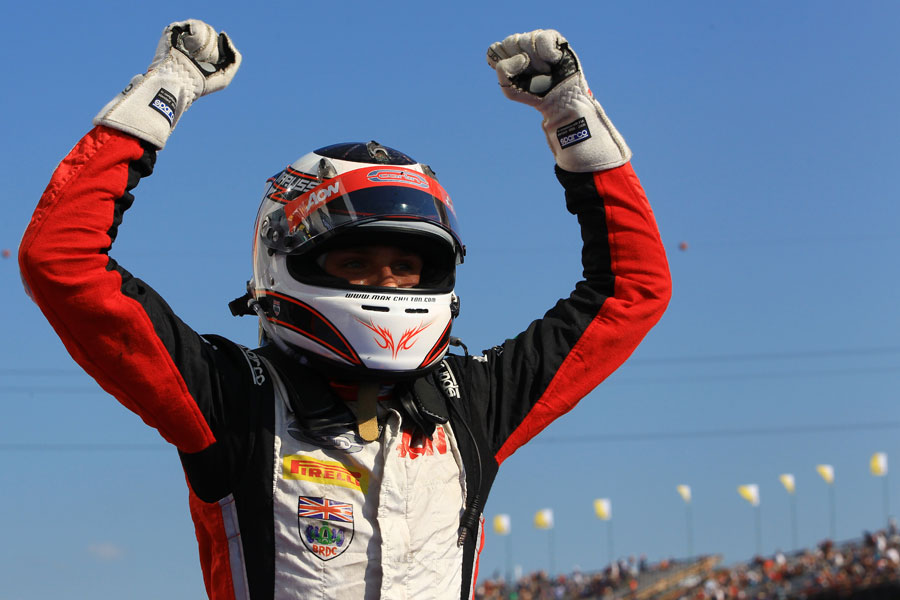 Max Chilton celebrates victory in the feature race