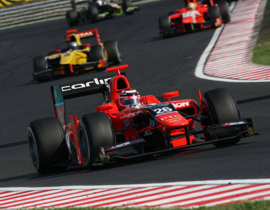 Max Chilton on his way to victory in the GP2 feature race