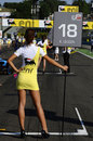 A grid girl ahead of the start of the GP3 race