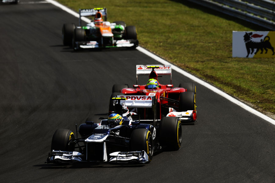 Bruno Senna leads Felipe Massa and Nico Hulkenberg