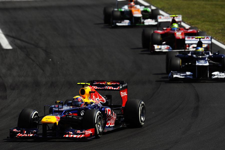 Mark Webber leads Bruno Senna, Felipe Massa and Nico Hulkenberg