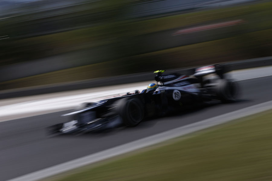 Bruno Senna at speed in the Williams