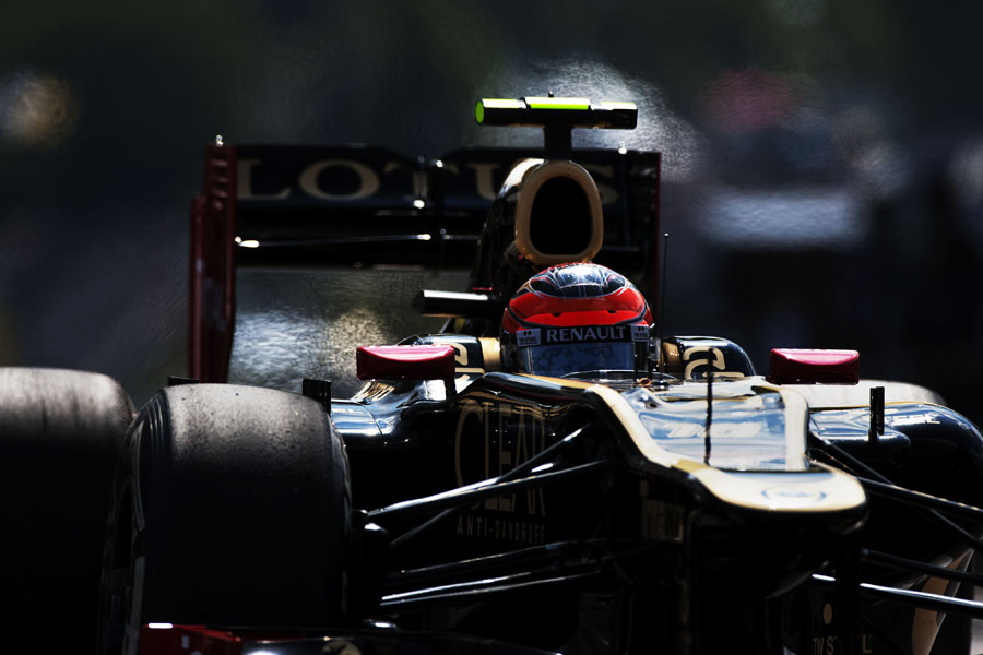 Romain Grosjean exits the pit lane