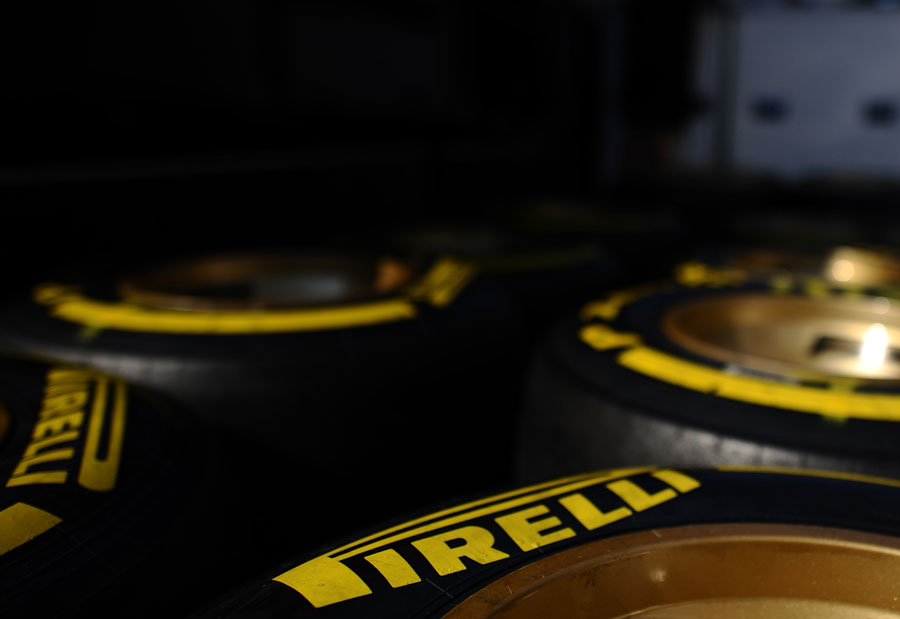 Soft Pirelli tyres in the paddock