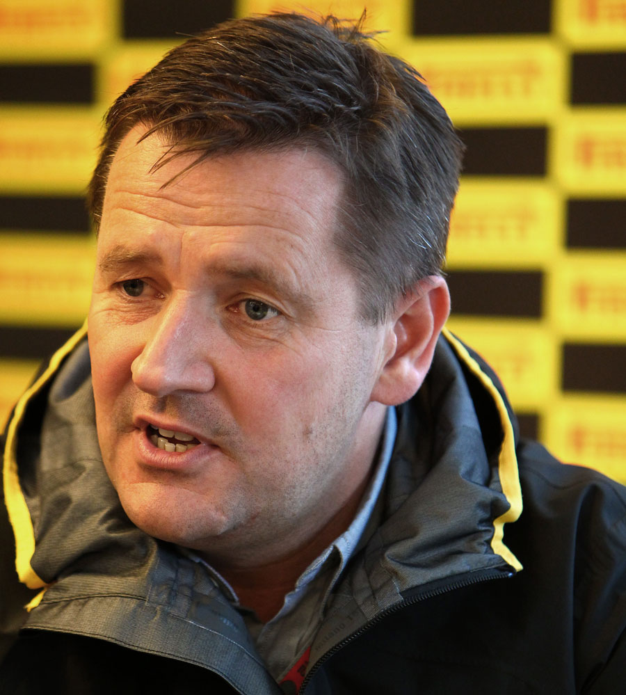 Pirelli motorsport director Paul Hembery talks to journalists