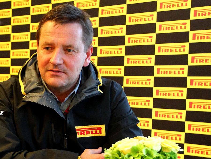 Pirelli motorsport director Paul Hembery talks to journalists