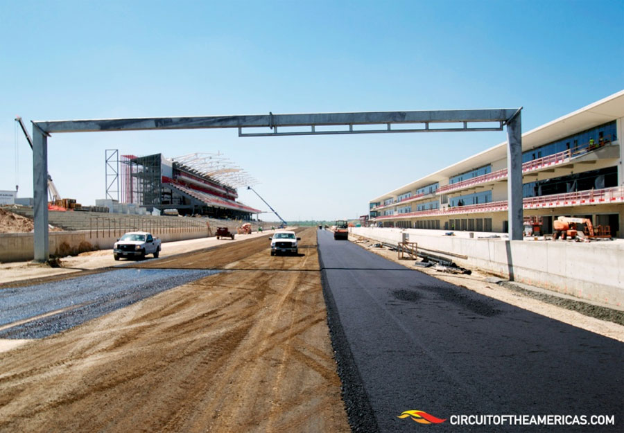 The first layer of tarmac goes down on the pit straight at the Circuit of the Americas