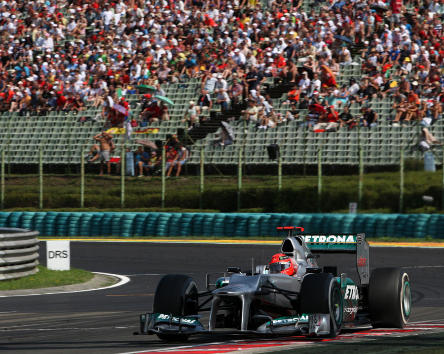 Michael Schumacher exits the final corner