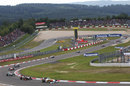 Adrian Sutil leads a queue of cars on track, German Grand Prix, Nurburgring, July 24, 2011