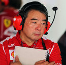 Tyre engineer Hirohide Hamashima in the Ferrari garage