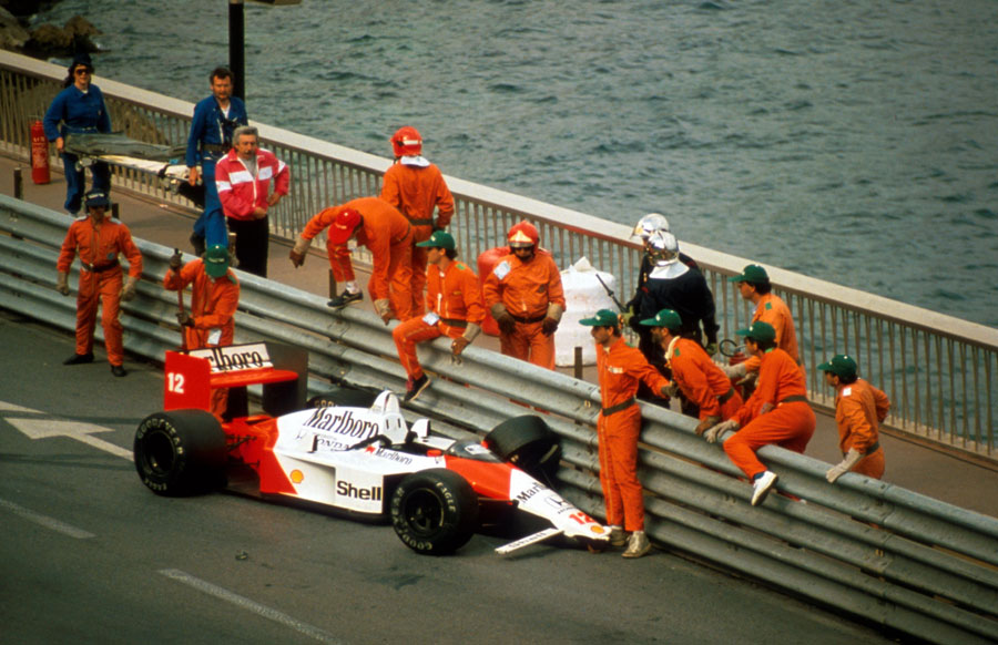 Ayrton Senna's McLaren against the barriers at Portier