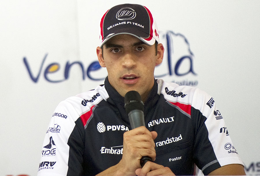 Pastor Maldonado speaks to the press on his return to Venezuela