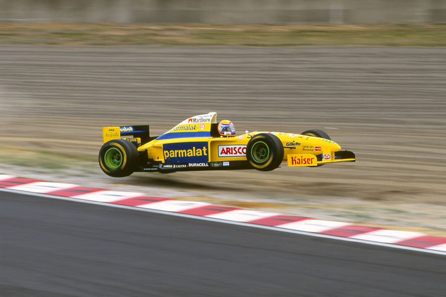 Roberto Moreno gets airborne having run wide over the kerb