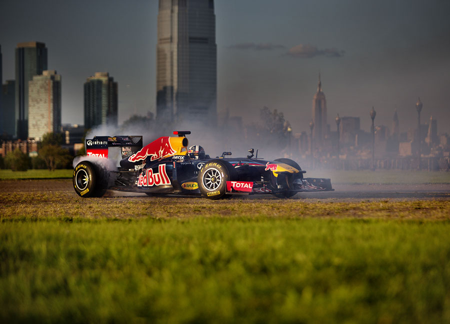David Coulthard on a Red Bull showrun in Liberty Park