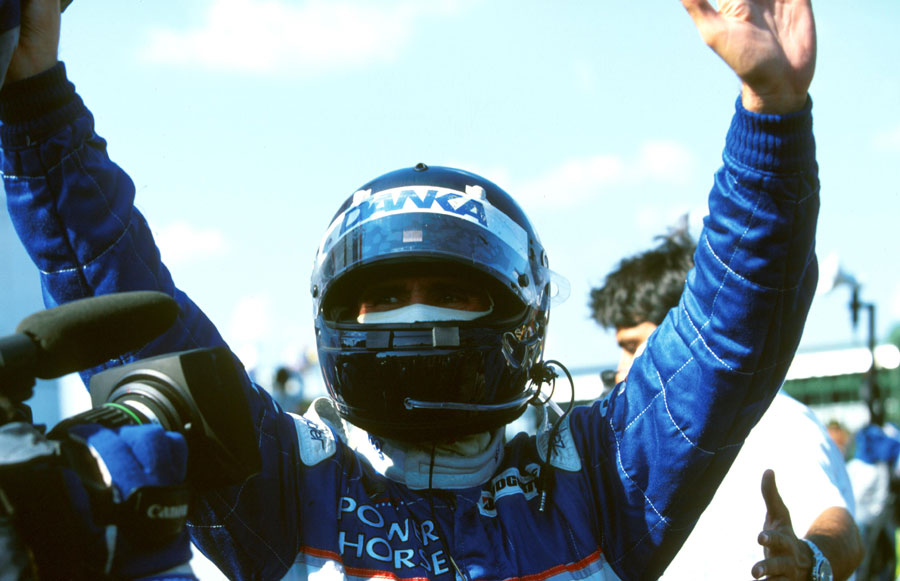 Damon Hill celebrates his second place in the Hungarian Grand Prix