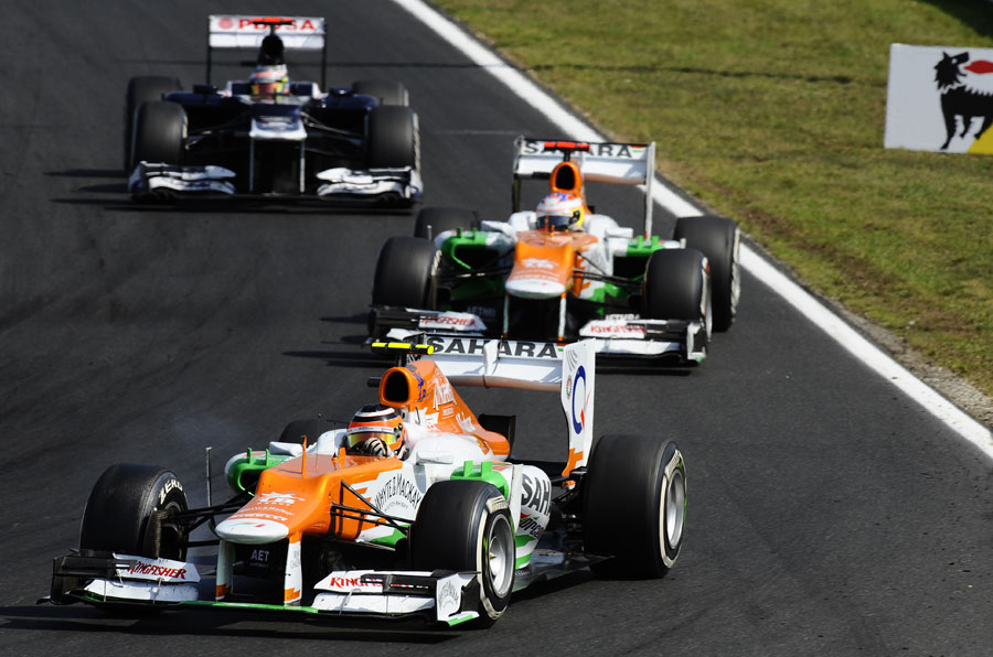 Nico Hulkenberg leads team-mate Paul di Resta and Pastor Maldonado