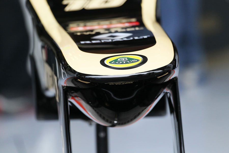 The Lotus nose cone in the pit lane