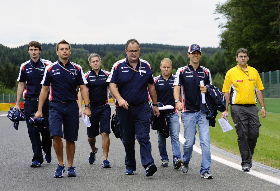 Bruno Senna and test driver Valtteri Bottas on a Williams track walk