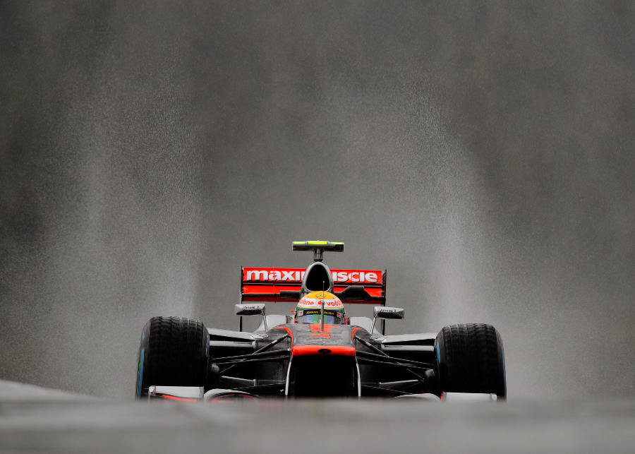 Lewis Hamilton ventures out through on to a very wet circuit on Friday morning