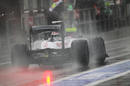 Valtteri Bottas leaves the pit lane on full wet tyres