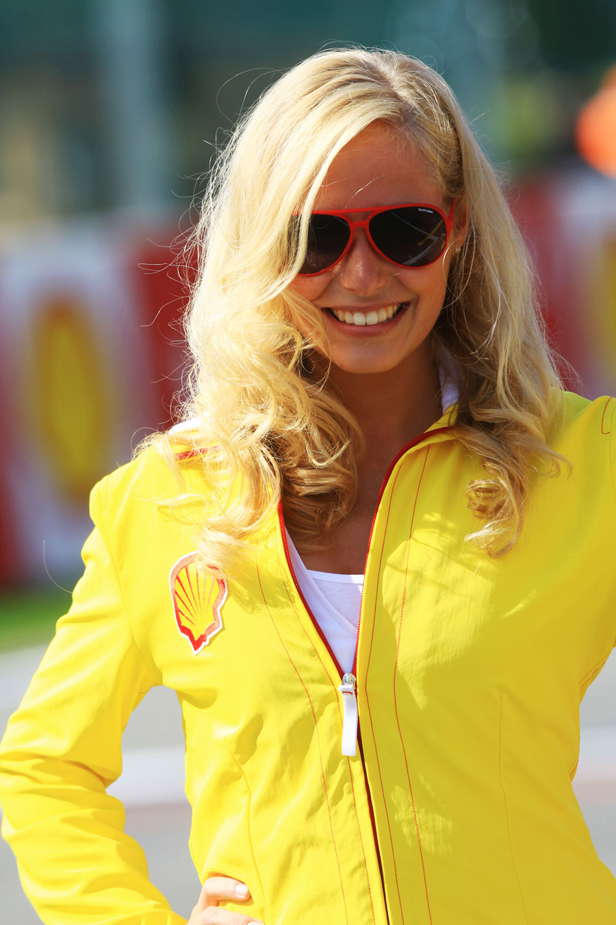 A grid girl ahead of the GP2 race